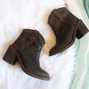Musse & Cloud Brown Leather Studded Booties